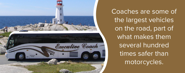 Coaches are some of the largest vehicles on the road, part of what makes them several hundred times safer than motorcycles.